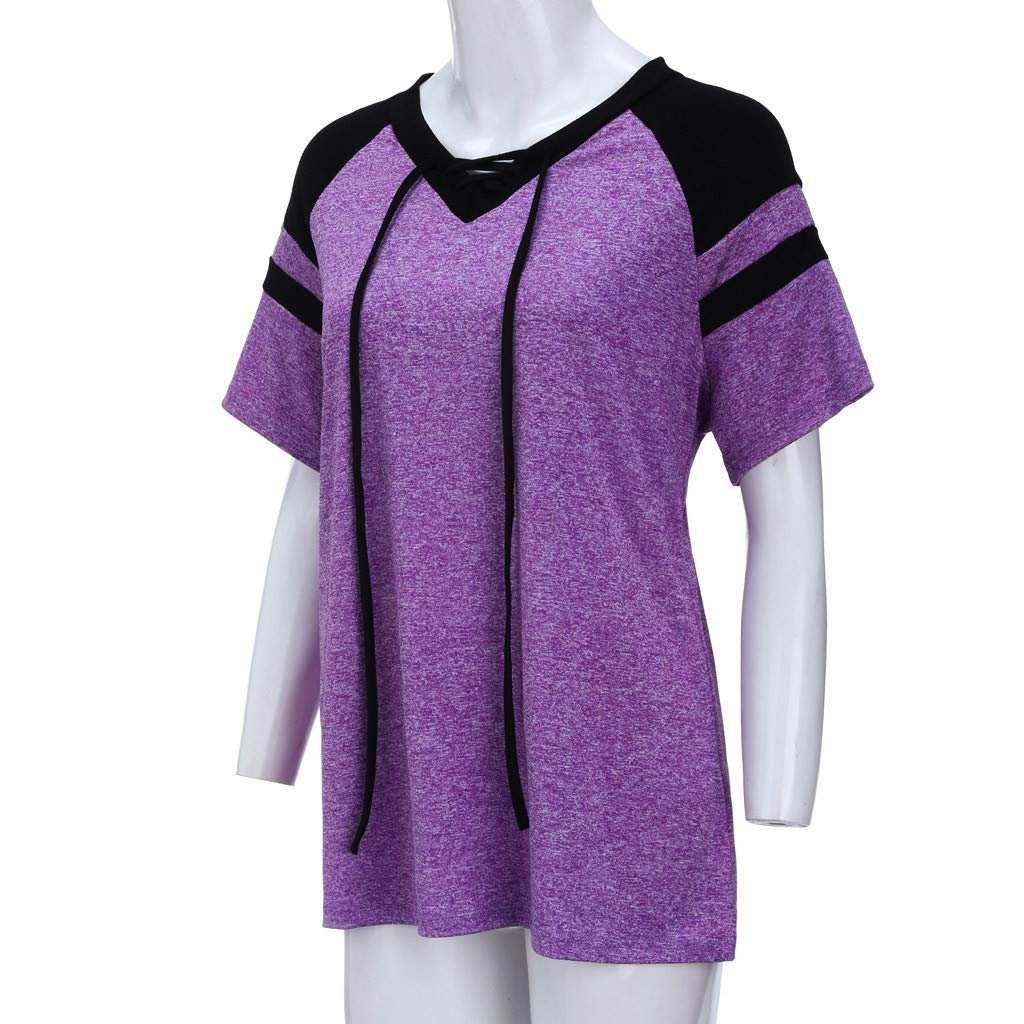 Short Sleeve Tee Blouse for Women,Amiley Women Patchwork Plus Size Short Sleeve Top Shirt Drawstring V Neck Casual Blouse (X-Large, Purple) by Amiley Womens Short Sleeve Tops (Image #4)