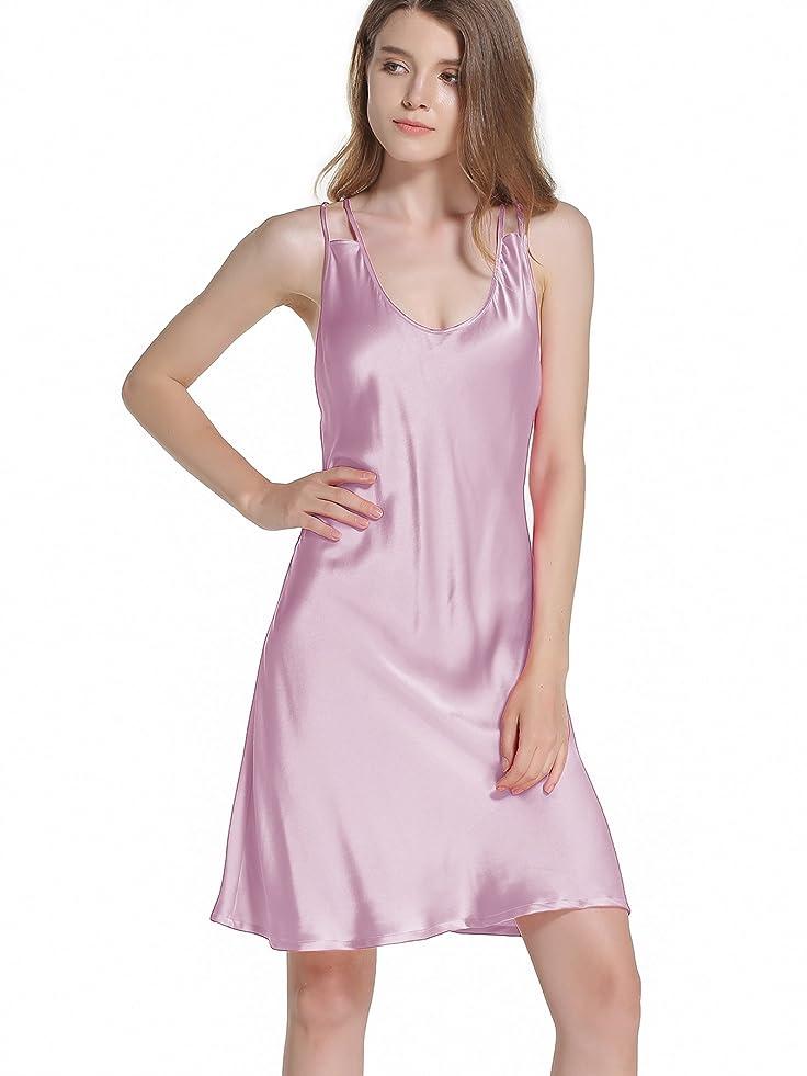 Vividmoo Flamboyant Slim Fit Back Adjustable cross harness design Womens Sleepwear Nightgown 19 Momme 100 Percent Mulberry Silk at Amazon Womens Clothing ...