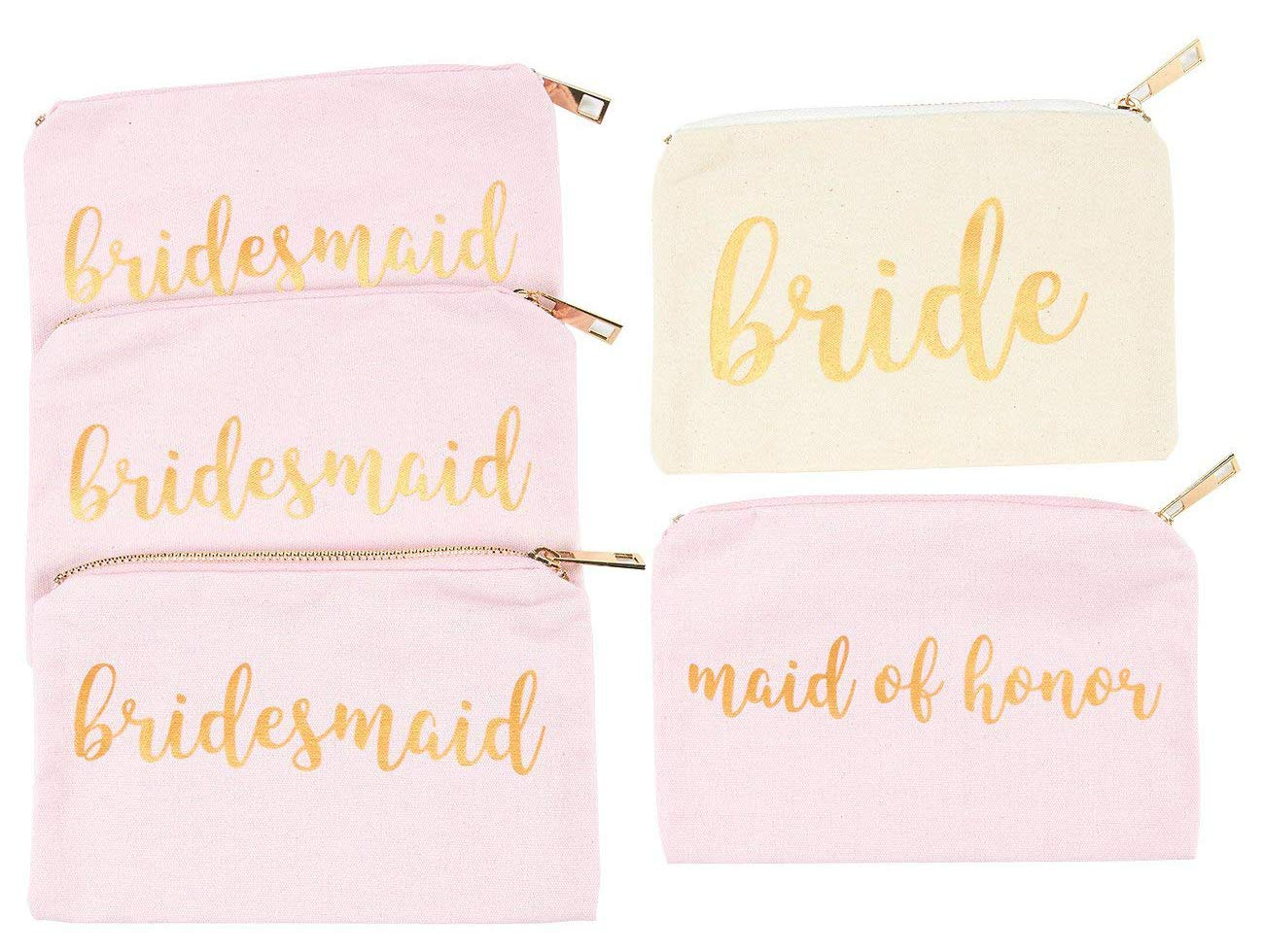 Bridal Shower Makeup Bag - 5-Pack Cosmetic Pouches for Wedding Favors, Bachelorette Party Gifts, and Bridal Shower Accessories, 7 x 5 Inches Juvale