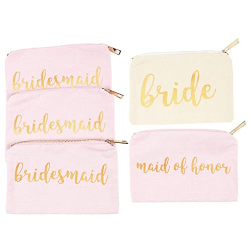 bridal shower makeup bag 5 pack cosmetic pouches for wedding favors bachelorette party