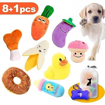 HuLuBB 8pcs chirriantes juguetes para perros mascota peluche de juguete de felpa masticar juguete para perros