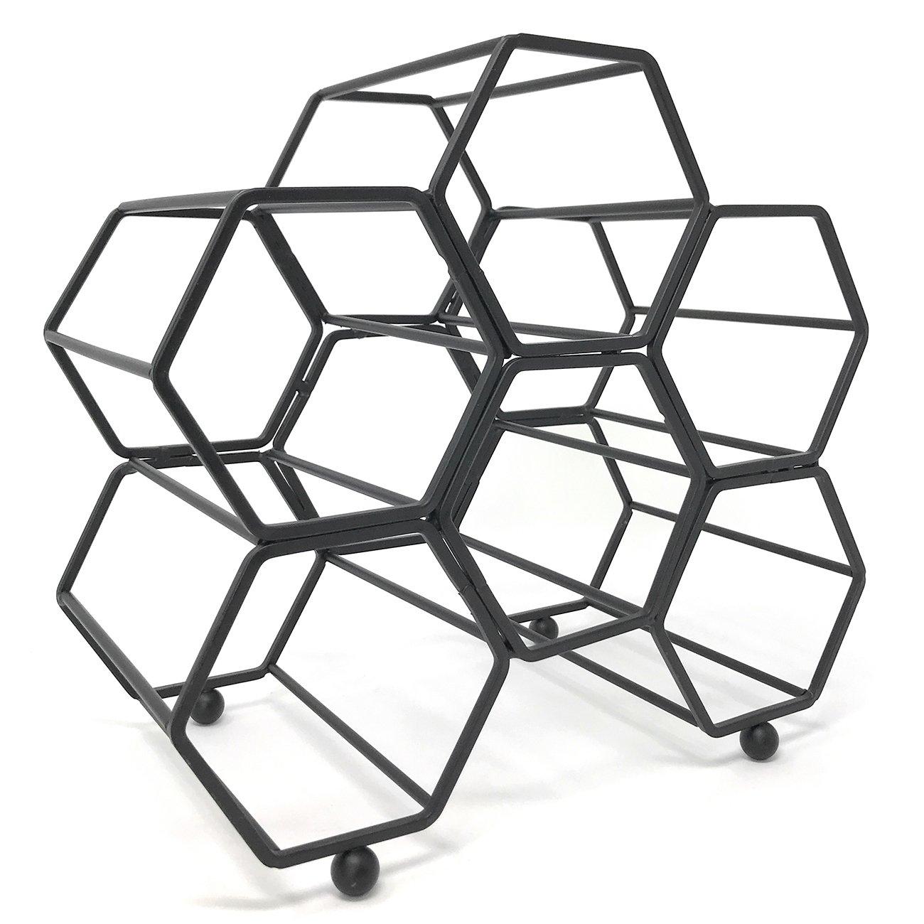 Clever Home Modern Hexagon 6 Bottle Table Top Steel Wine Rack (Matte Black)