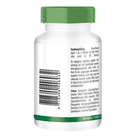 SOD - superóxido dismutasa - Altamente dosificado - 90 comprimidos - 6000 unidades de actividad enzimática por dosis diaria - ¡Calidad Alemana ...