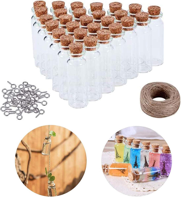 Mini Botellas de Vidrio con Tapón de Corcho (30 unids) Mini Botellas Cristal Botella Mensaje para Decoración de DIY, Boda, Recuerdo de Fiesta, Accesorios de Almacenamiento, Decoración de Manualidades
