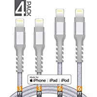 4-Pack AHGEIIY MFi Certified Nylon Braided Charger Cable [3FT 3FT 6FT 6FT]