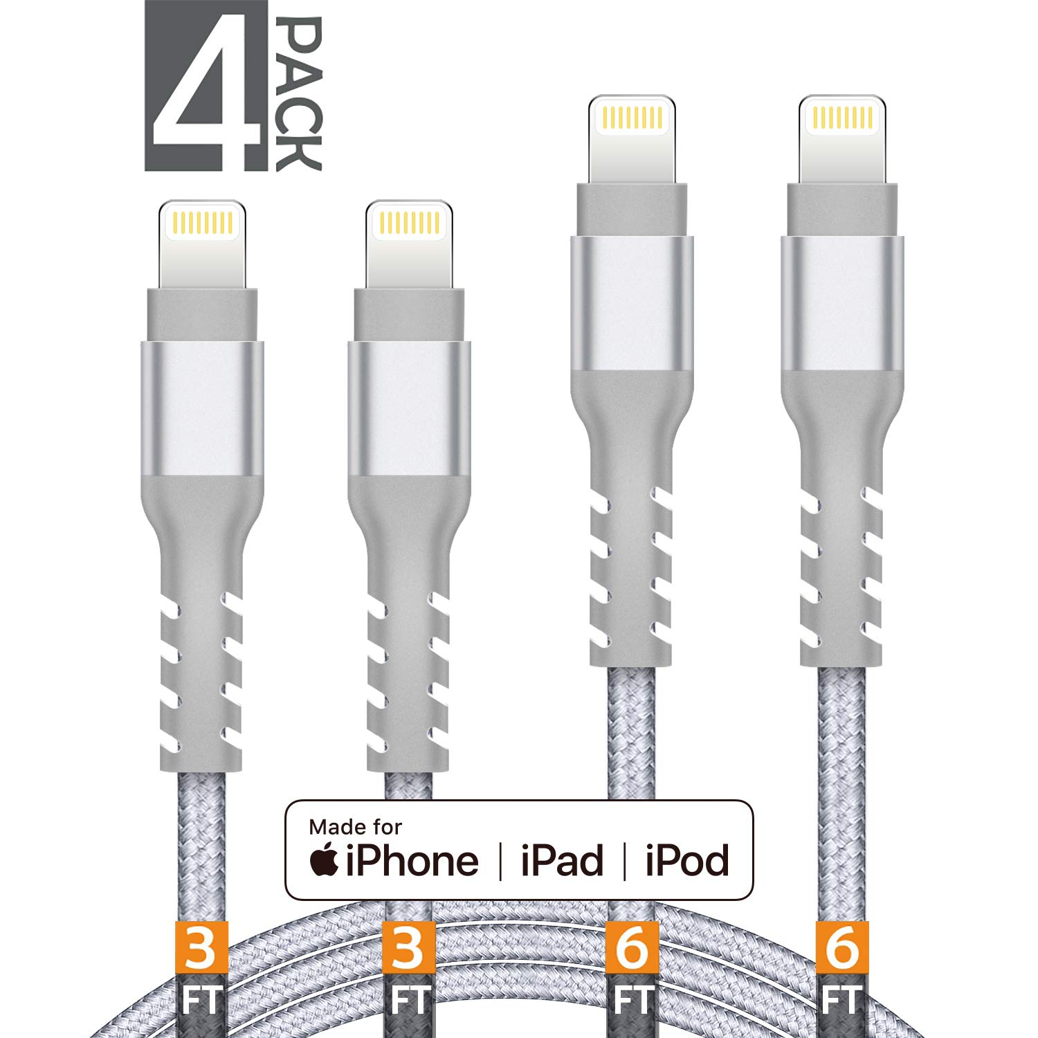 AHGEIIY MFi Certified Charger Cable Nylon Braided 4 Pack [3FT 3FT 6FT 6FT] iPhone Lightning Cable Cord Compatible iPhone X, 8 Plus, 8, 7 Plus, 7, 6 Plus, 6, 6S Plus, 6s, 5, iPad and More(Silver)