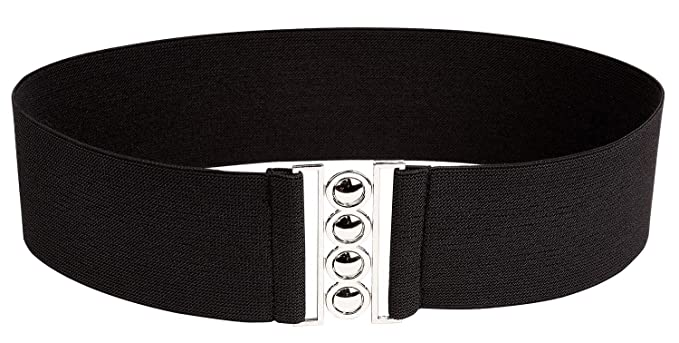 6856d568e19 Modeway Women 3inch Elastic Stretch Wide Black Elastic Belt With Silver  Buckle(S-M