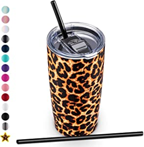 ALOUFEA 20oz Stainless Steel Tumbler with Lid and Straw, Vacuum Insulated Tumbler Cup, Double Wall Coffee Tumbler, Powder Coated Travel Coffee Mug, Leopard
