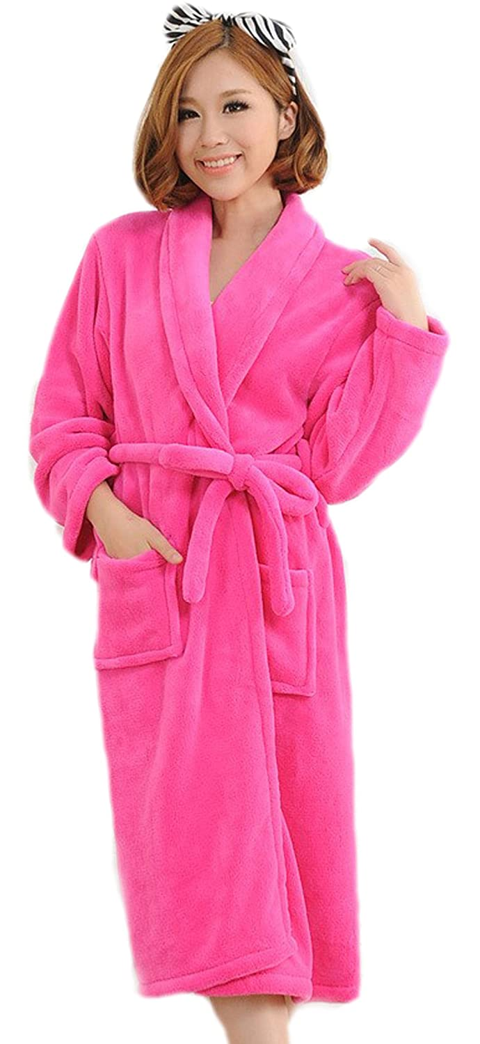 BIFINI Ladies' Rose Flannel Warm Bathrobe Terry Kimono Plush Wrap Robe, Long