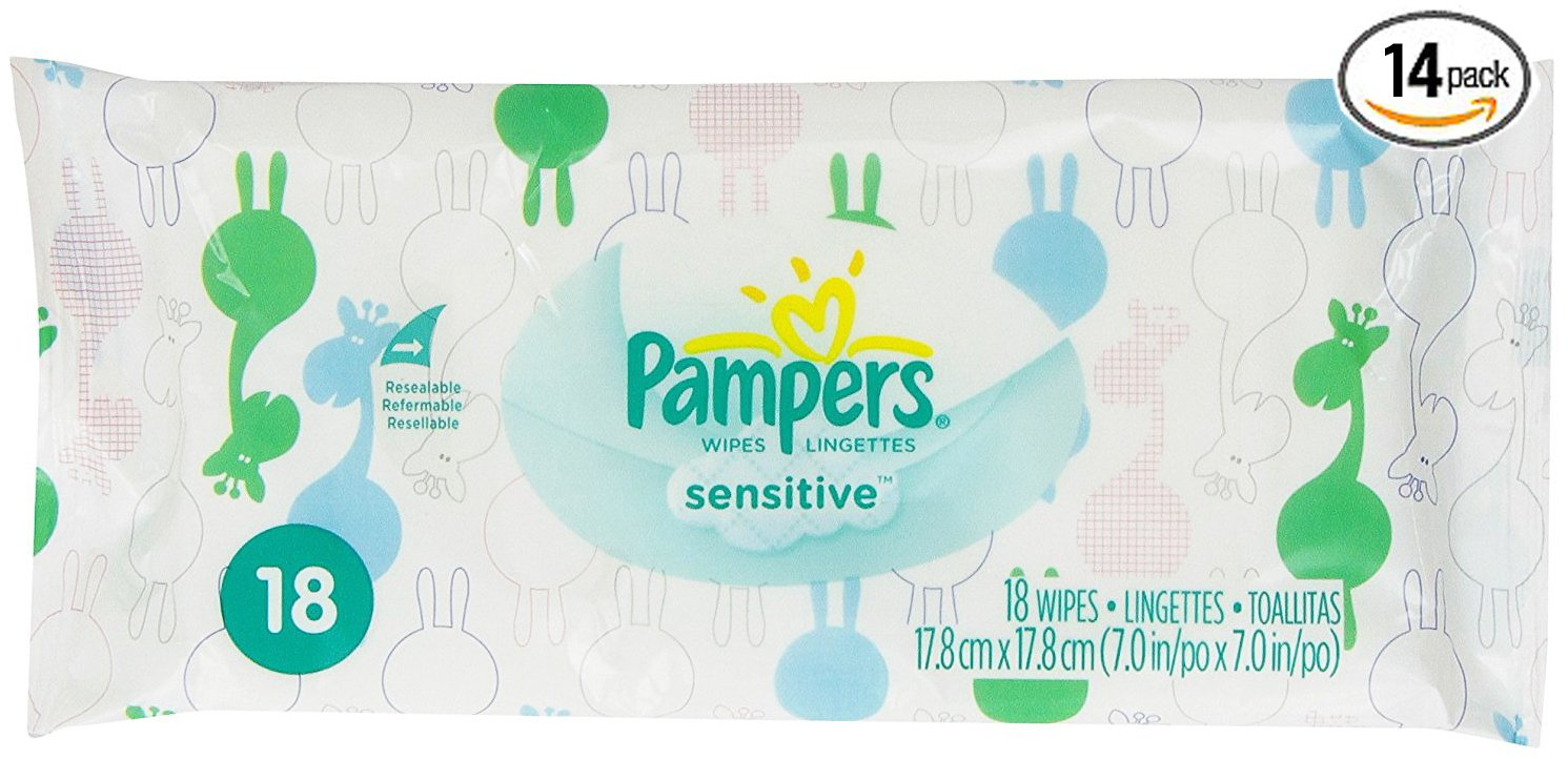 Pampers Sensitive Wipes Convenience Travel Pack 18 Count (Pack of 14, Total 252ct)