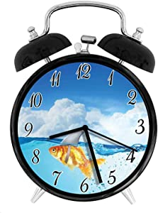 22yiihannz Stylish Modern Alarm Clock-3.8inch,Cute Goldfish with Shark Fin on Top of The Water Fake Comic Nature -No Ticking,Soft Night Light,Good Gift for Decorating The Room