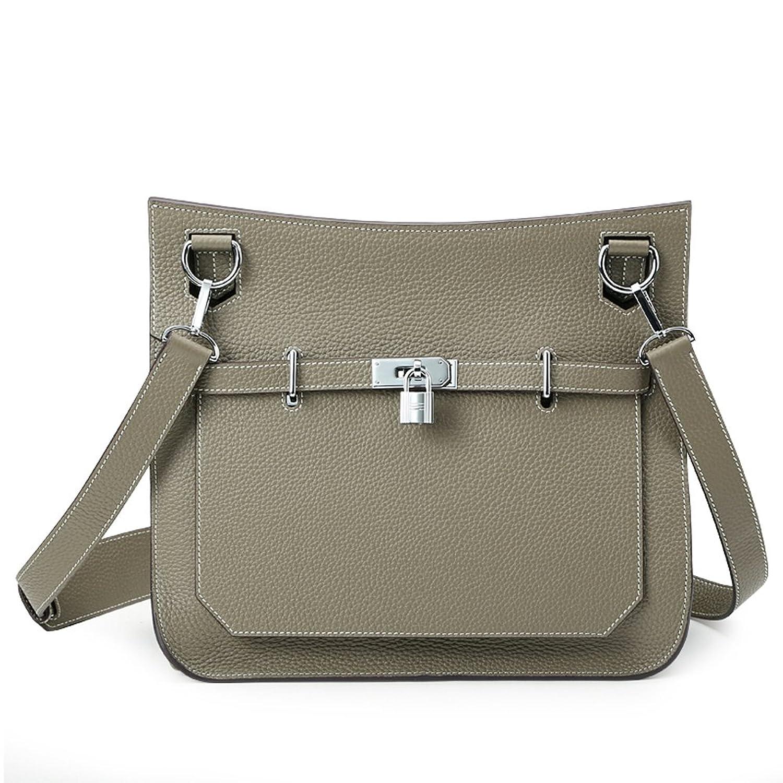 Ainifeel Women's Padlock Genuine Leather Messenger Bag Cross Body Bag Satchel Purse