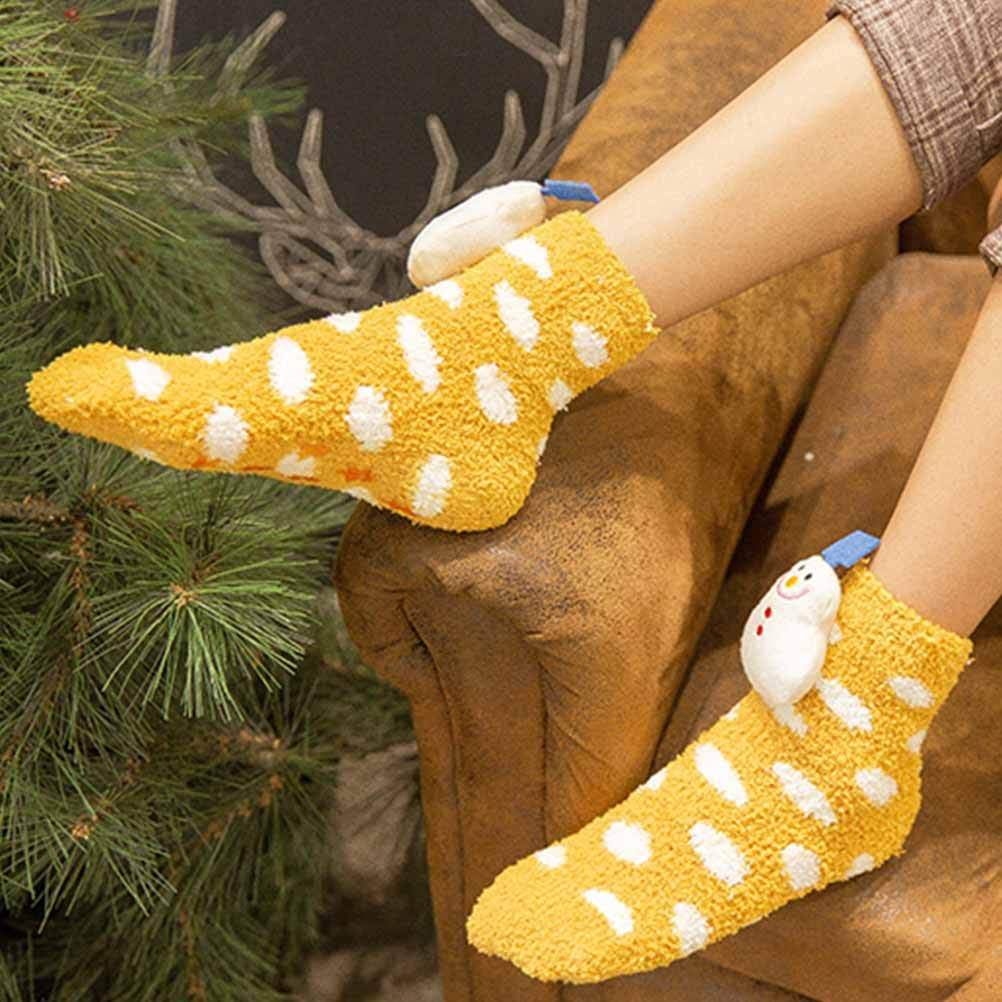 FENICAL Socks Coral Fleece Skid Resistance Socks Cute Socks for Baby Kid Infant Yellow Children Pattern, 1-5 Years Old