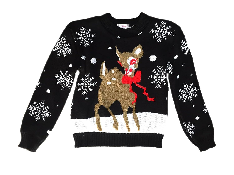 KCL LONDON Kids Childrens Christmas Jumper Xmas Girls Boys Retro Rudolph Winter Sweater