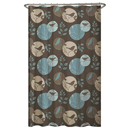 MAYTEX Clementine Fabric Shower Curtain Brown Multi 70 Inches X 72