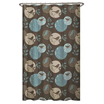 Amazoncom Maytex Clementine Fabric Shower Curtain Brown Multi 70