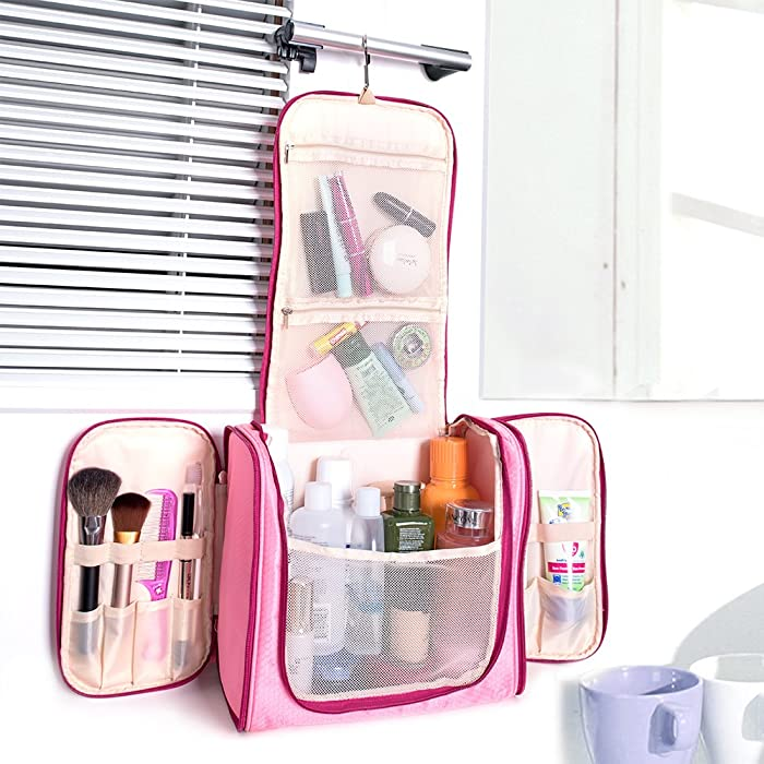 5fea68a06fd6 ... Large Hanging Travel Toiletry Bag - MelodySusie Heavy Duty Waterproof Makeup  Organizer Bag Shaving Kit Toiletry ...