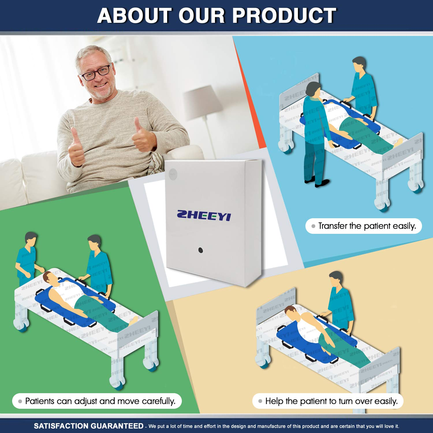 """Multipurpose 48"""" x 40"""" Positioning Bed Pad with Reinforced Handles by ZHEEYI - Reusable & Washable Patient Sheet for Turning, Lifting & Repositioning - Double-Sided Nylon Fabric, Blue by ZHEEYI (Image #3)"""