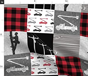 Spoonflower Fabric - Lineman Patchwork Buffalo Plaid Bucket Truck Red Black Power Line Printed on Organic Cotton Knit Fabric by The Yard - Baby Blankets Clothing Apparel T-Shirts