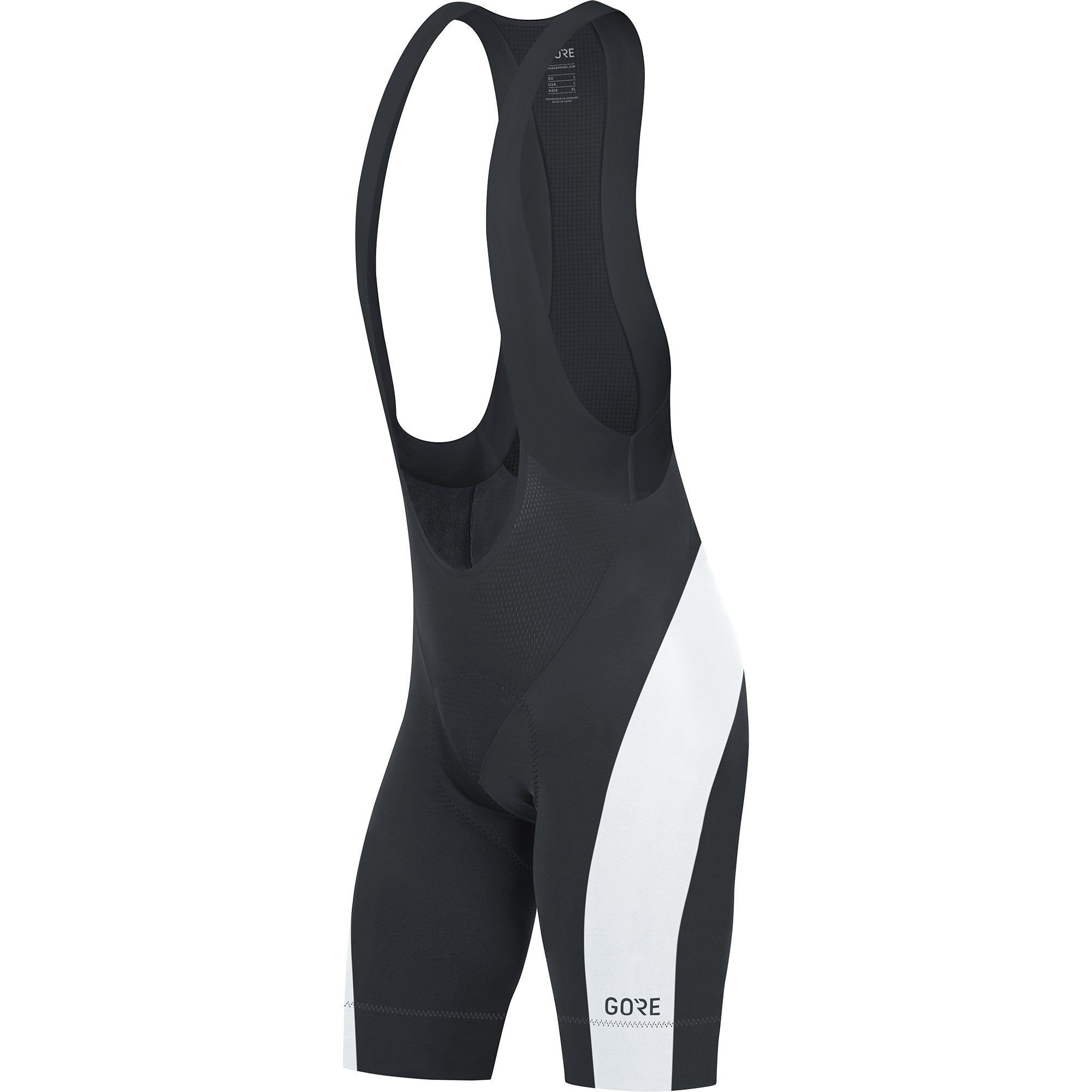 GORE Wear Men's Breathable Road Bike Bib Shorts, With Seat Insert, GORE Wear C5 Bib Shorts +, Size: XL, Color: Black/White, 100192