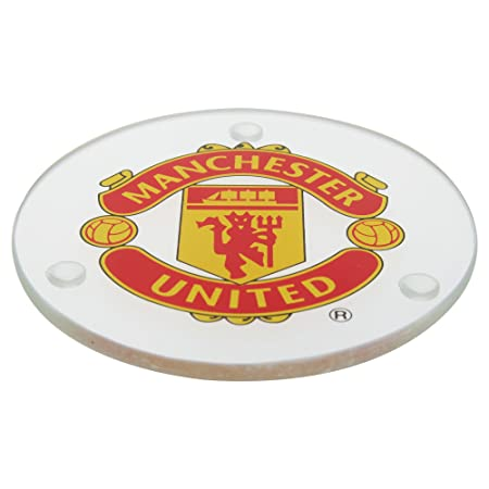 Manchester United Fc Official Round Glass Football Crest Coasters Pack Of 4 One Size Clear Red Yellow