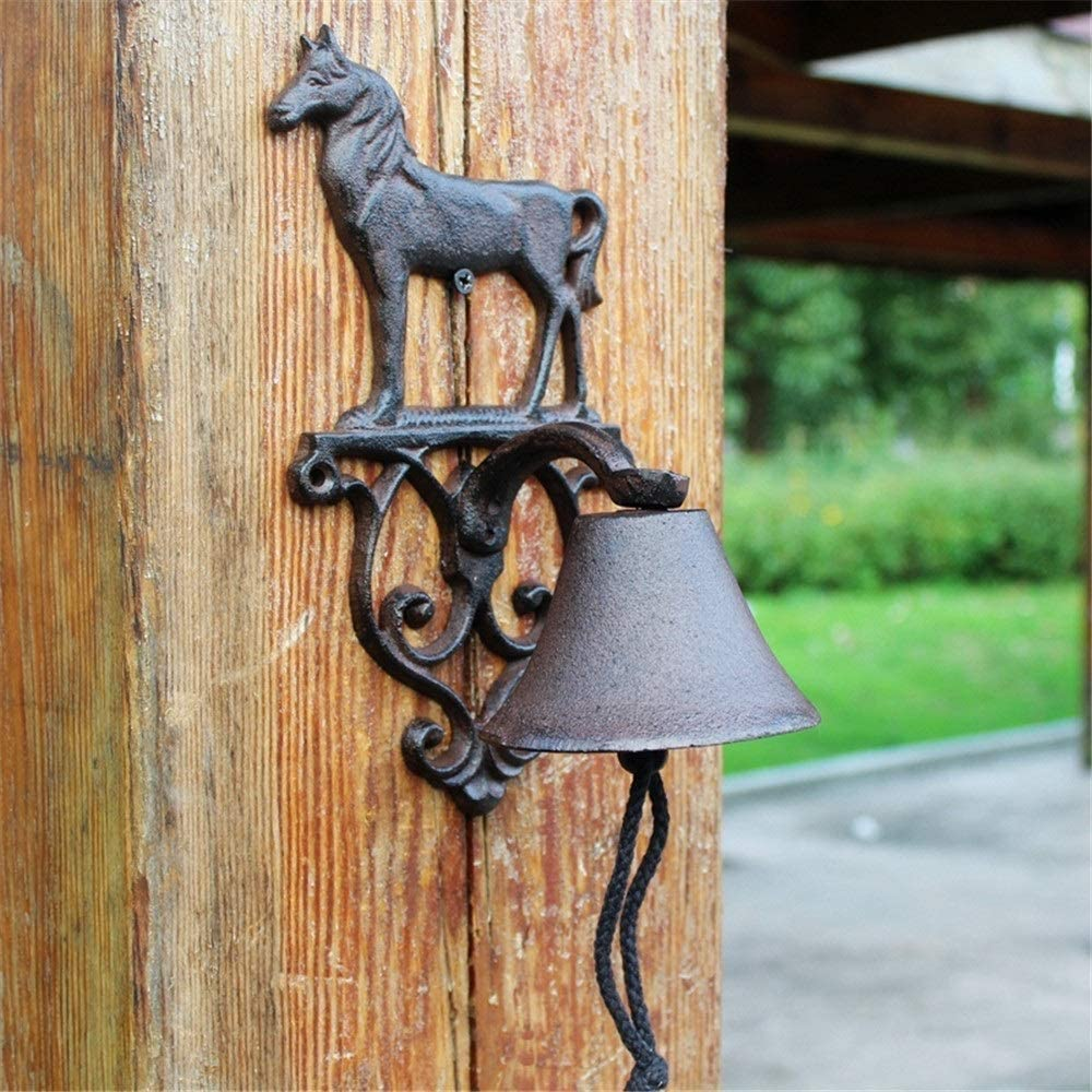 Horse Garden Bell in Black Cast Iron or Rustic Iron