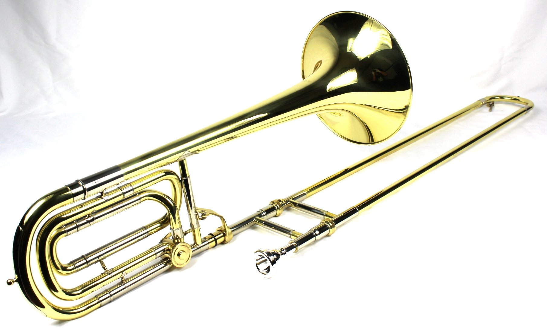 Brand New Bb/F Bass Trombone w/ Case and Mouthpiece- Gold Lacquer Finish by Moz (Image #2)