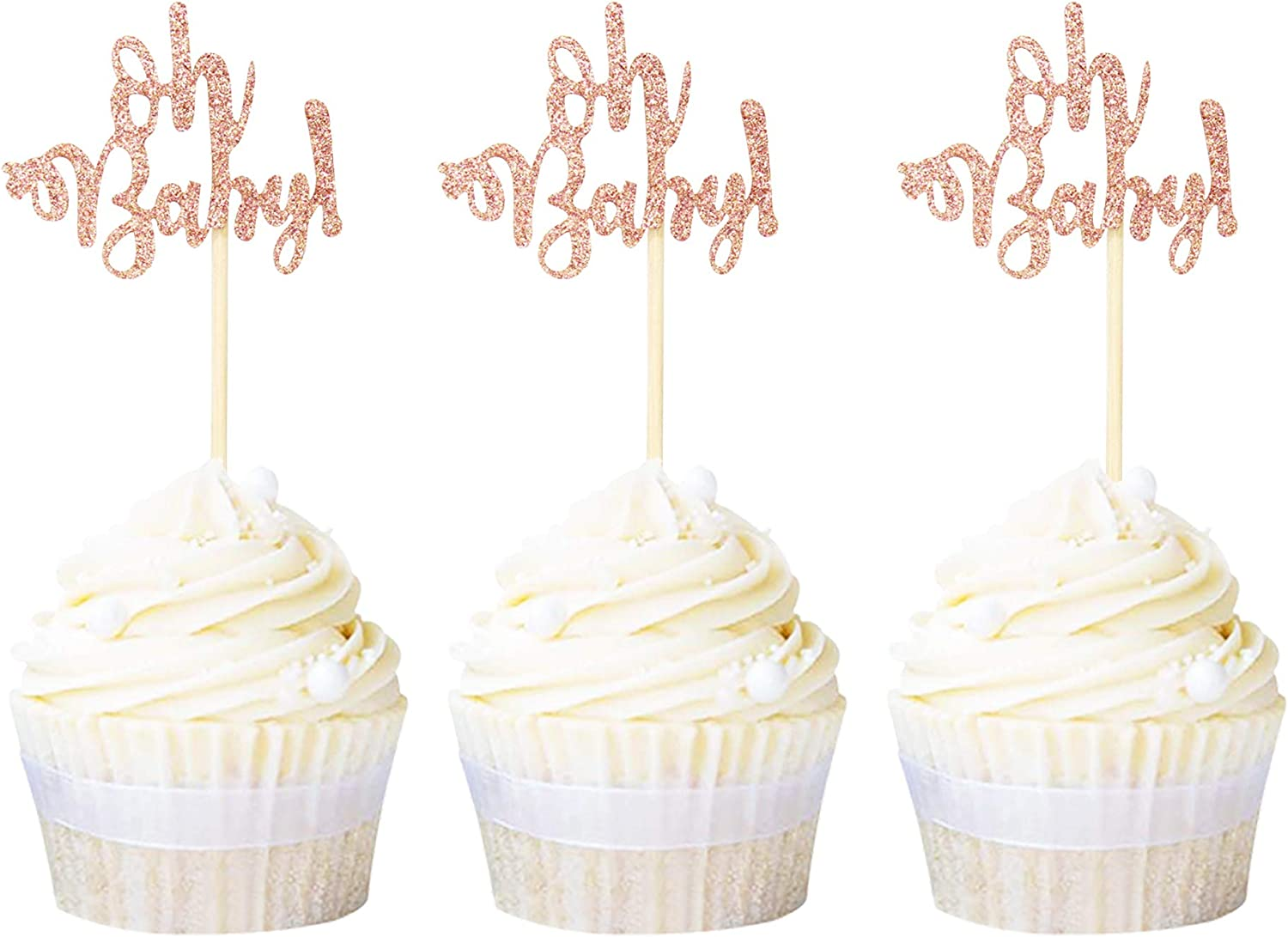 Ercadio 24 Pack Oh Baby Cupcake Toppers Rose Gold Glitter Baby Shower Cupcake Picks Boys Girls Birthday Party Cake Decorations