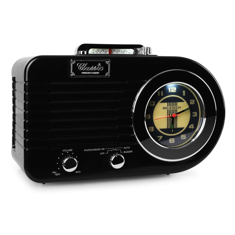 Ricatech PR220 mesa de Radio AM/FM USB SD MP3, color negro: Amazon ...