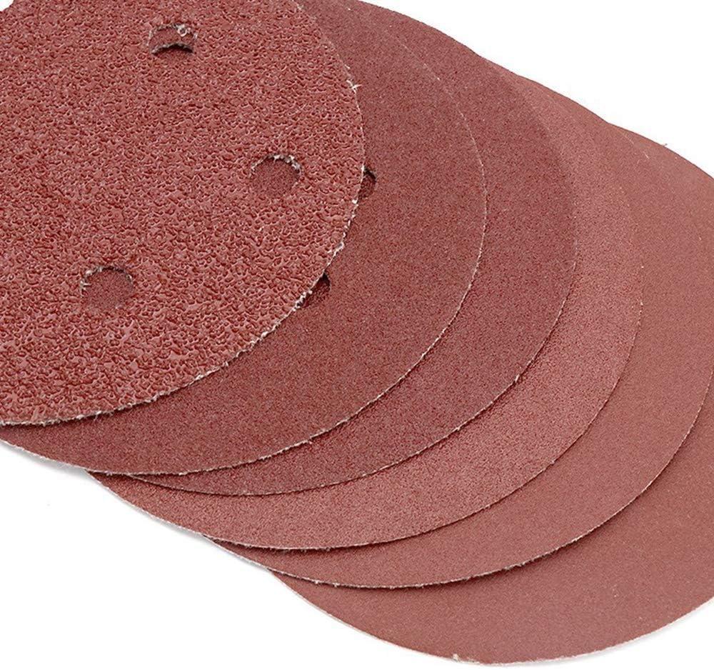 Abr Size : 5 inch flocking 100# CHUNSHENN 50 PCS 5 Inch Hole 6//8 Aperture Soongorica Sandpaper Sheet Pile Brushed Back Sheet Apertures Flocking Sandpaper Sheet Belt Disc 125MM Grinding and Polishing