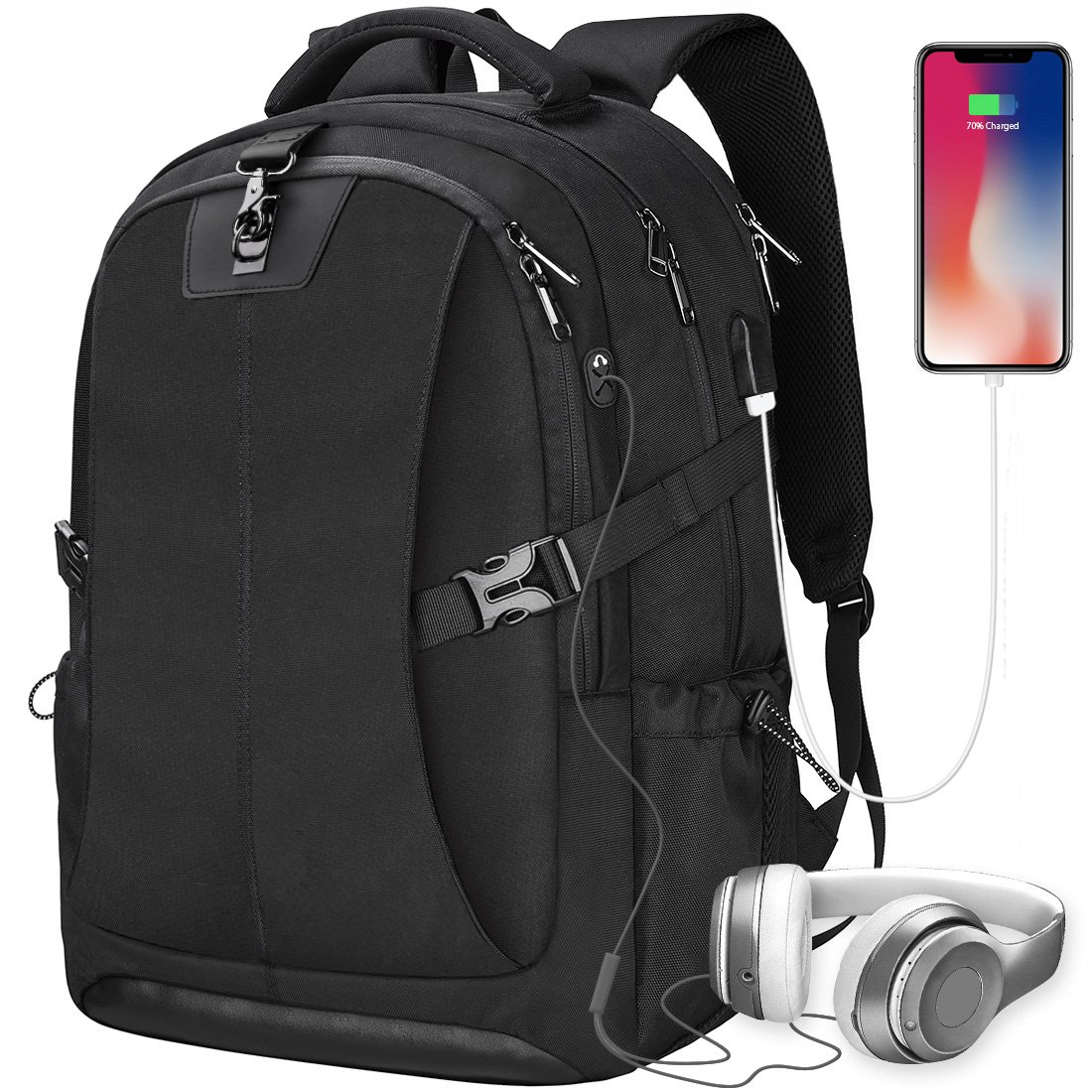 f2342900ae5 Laptop Backpack 17.3 Inch Anti-theft Waterproof Travel Rucksack USB  Charging Port Business Work College School Large Compartment Outdoor Gaming  Computer Bag ...