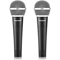 """Neewer Zinc Alloy Black Professional Moving Coil Handheld Dynamic Microphone for Kareoke,Stage,Home Studio Recording,with 1/4"""" Male to XLR Female Cable, 2 Pack"""