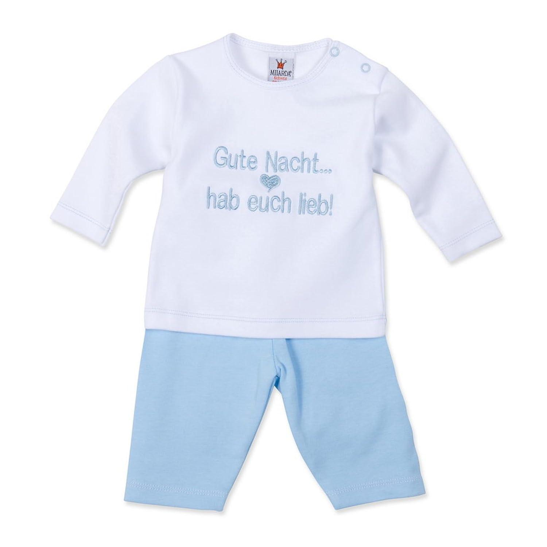 """Milarda Baby Schlafanzug /""""Gute Nacht .. 50-62 Gr hab euch lieb!/"""" weiß-blau"""