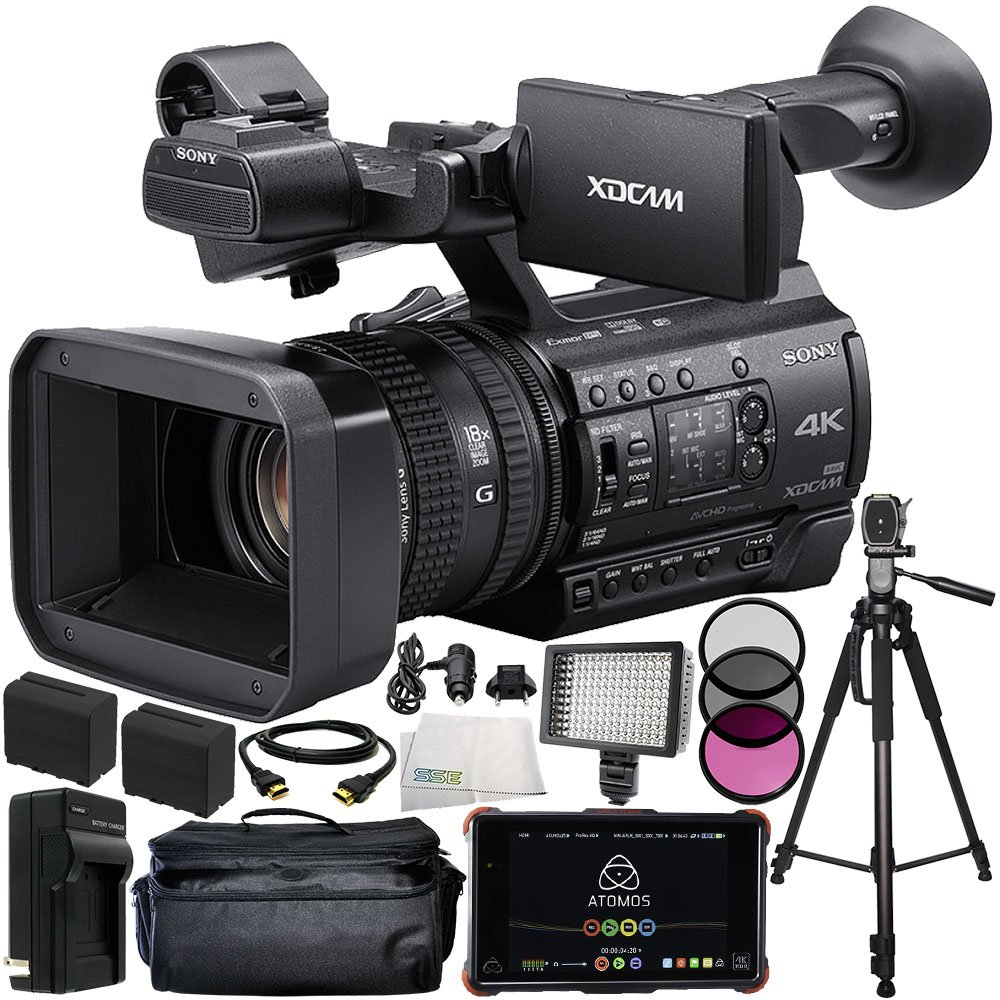 Sony HXR-NX100 HD NXCAM Camcorder with Atomos Ninja Flame 7'' 4K HDMI Recording Monitor 13PC Accessory Kit. Includes 2 Replacement F970 Batteries + AC/DC Rapid Home & Travel Charger + MORE by SSE