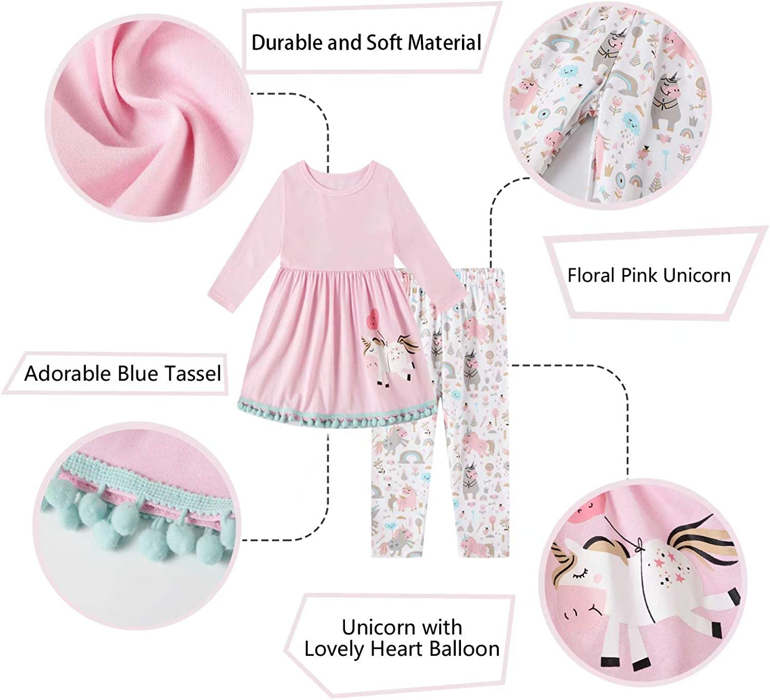 Herimmy Girls Unicorn Pants Set 2 Pieces Long Sleeve Top Clothes Set Outfit Fall Winter Leggings Set