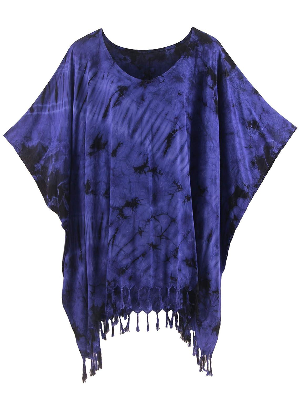 e977002897 Beautybatik BOHO HIPPIE Tie Dye Tunic Blouse Kaftan Top at Amazon Women's  Clothing store: