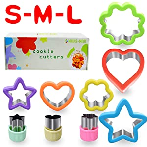 Cookie Cutters for Kids Big Medium Mini Star Vegetable Fruit Sandndwich Biscuit Pastry Bread Dough Fondant Cutter Shapes
