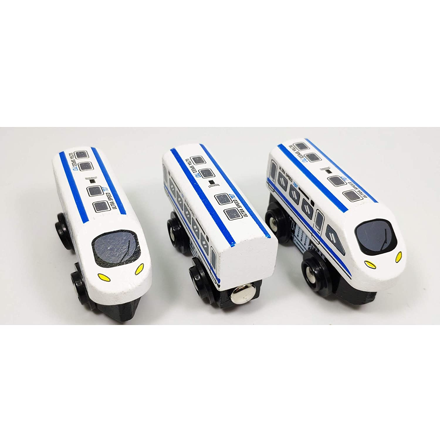 SUKRAGRAHA Wooden Train Set 3pc Shinkansen Magnetic Toy Train Sets for Kids Toddler Boys Girls Compatible with Thomas Tracks and Major Brands
