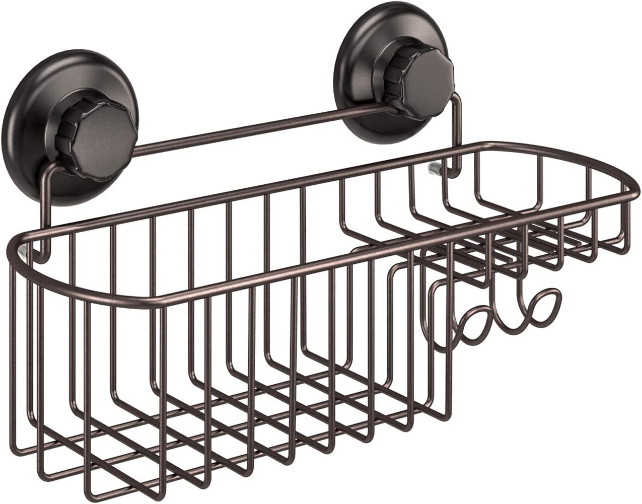 HASKO accessories - Powerful Vacuum Suction Cup Shower Caddy Basket for Shampoo - Combo Organizer Basket with Soap Holder and Hooks - Stainless Steel Holder for Bathroom Storage (Bronze)