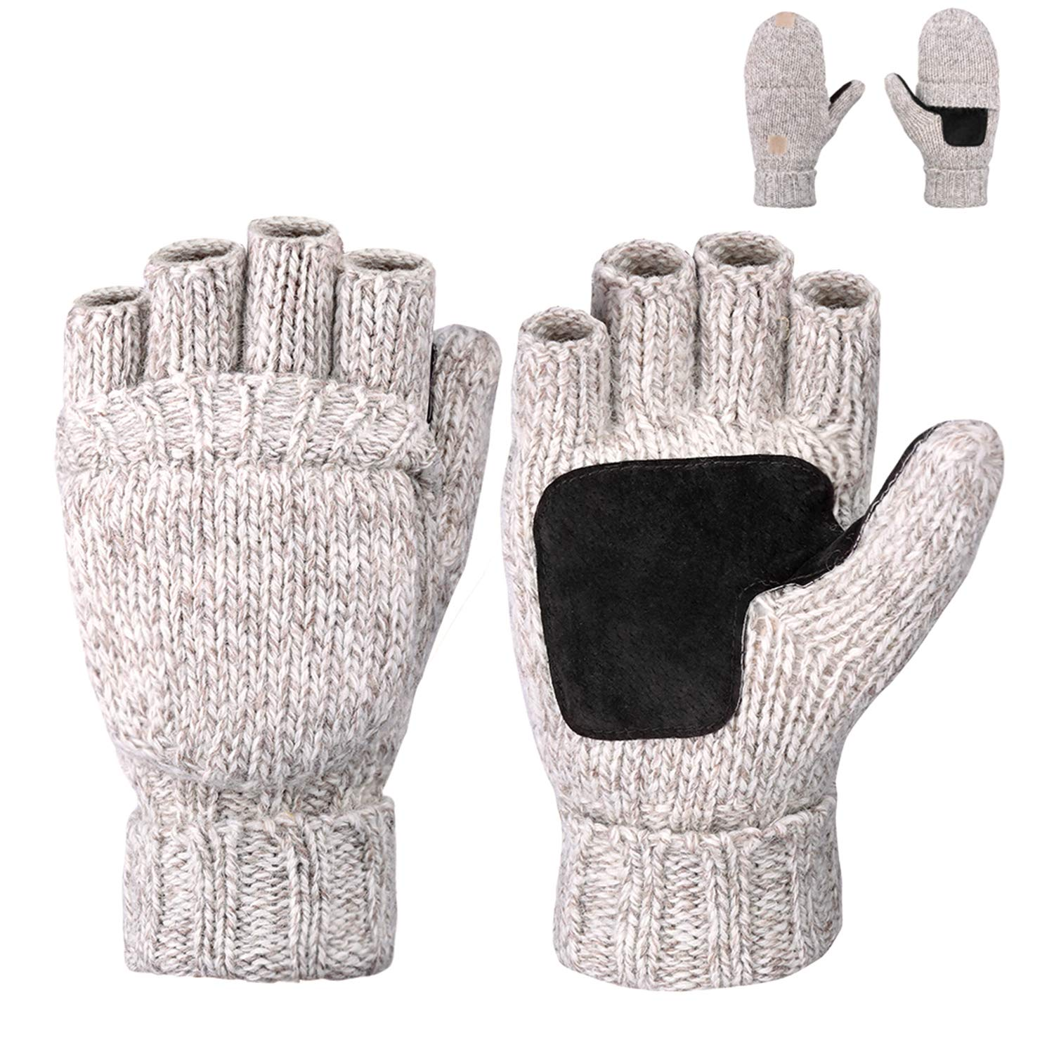 Maylisacc Winter Thick Wool Blended Fingerless-Gloves for Men Half Finger Convertible-Mittens with Fleece Lining