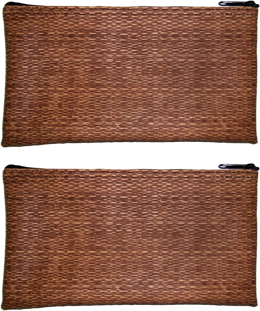 Perfect for Travel Dark Wicker Design With Zipper Premium Carry Bag Unisex Pack of 2 Cash /& Carry Organizer