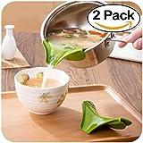 Generic Silicone Pour Spout Slip on Pour From Bowls Pans Pots Easy Pour Dishwasher Safe Green 2Pcs