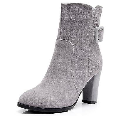 Jamron Schöne Damen Nubukleder Hoch Blockabsatz Stiefel Damen Schlüpfen Mittelkalb Stiefel mit Gürtelschnalle Grau SN02801 EU38.5 SWesEbA