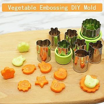 Verduras moldes formas Set 8 pcs - acero inoxidable de galletas, fruta molde queso prensas sellos para niños, lindo para divertido comida: Amazon.es: Hogar