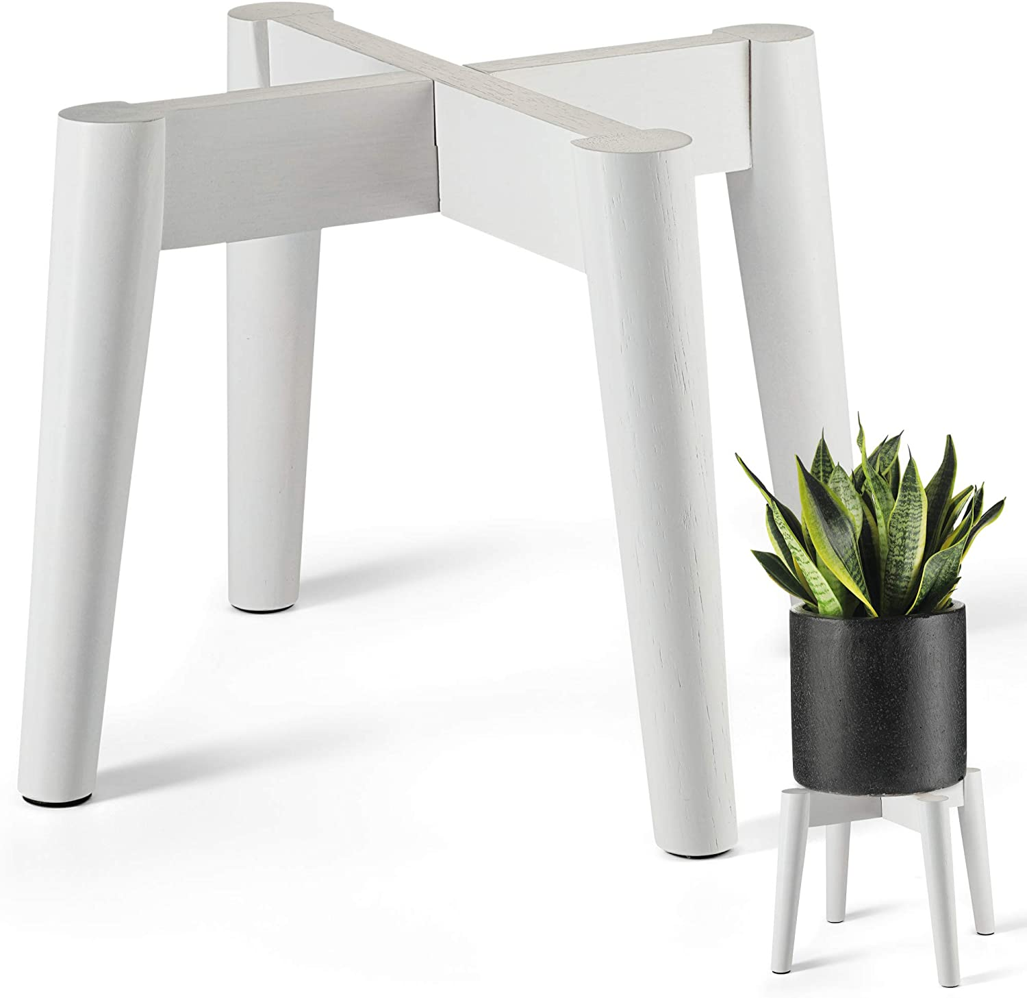 LITADA Plant Stands (Set of 2) Mid Century Modern Plant Stand Indoor (Plant Pot NOT Included) Flower Pot Holder Home Decor (White-2pcs)