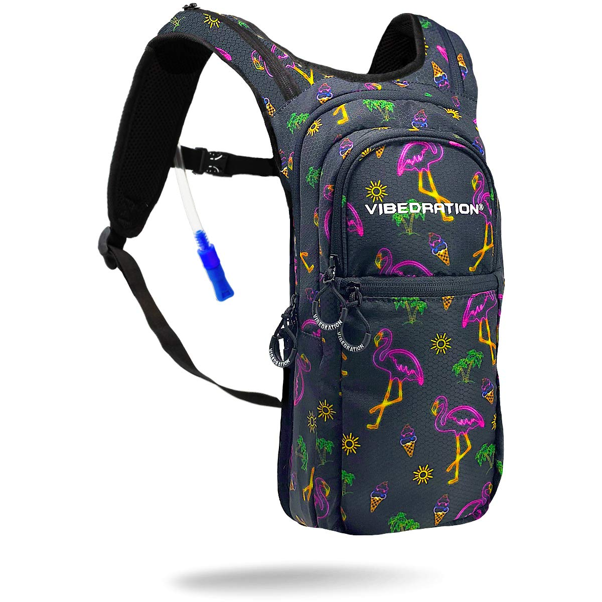 Vibedration VIP 2 Liter Hydration Pack | Festival Rave Hydration, Hiking Camping Backpack (Neon Flamingo)