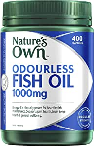 Nature's Own Odourless Fish Oil 1000mg - Source of Omega-3 - Maintains Wellbeing - Supports Healthy Heart and Brain, 400 Capsules