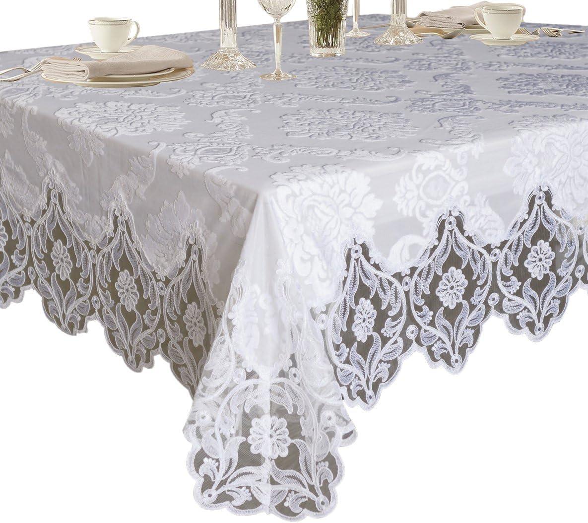 Omaha Mall Violet Linen Elegant Velvet Lace Deluxe Tabl Sheer Over item handling Floral Design