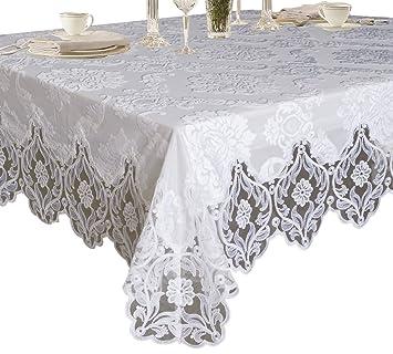 Violet Linen Elegant Velvet Lace Sheer Floral Deluxe Design Tablecloths,  70u0026quot; X 132u0026quot;