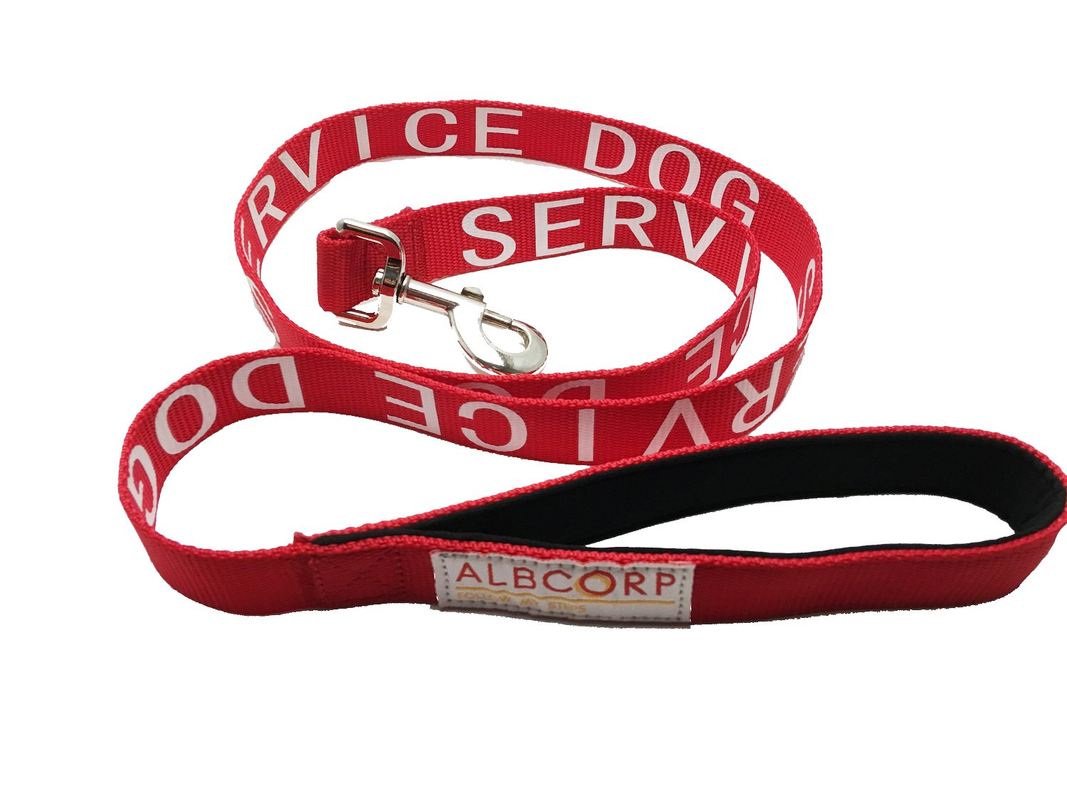 Albcorp Service Dog Leash with Padded Neoprene Handle and Reflective Silk-Screen Print, 4 Foot, Red